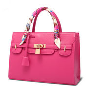 Hong Kong SAR PU leather handbags, hot black, red ,blue, pink color styles for ladies, OEM & ODM are welcome