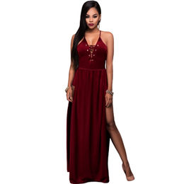 Burgundy Lace Up Bust Velvet Maxi Romper Dress from  Nan'an City Shiying Sexy Lingerie Co. Ltd