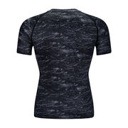 China Men's printed compression round-neck T-shirt mesh splicing