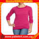 Custom fashion comfortable casual o-neck cotton plain fitness lady autumn t shirts Manufacturers